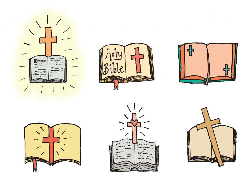 Ilustrações de bíblias e cruzes.
