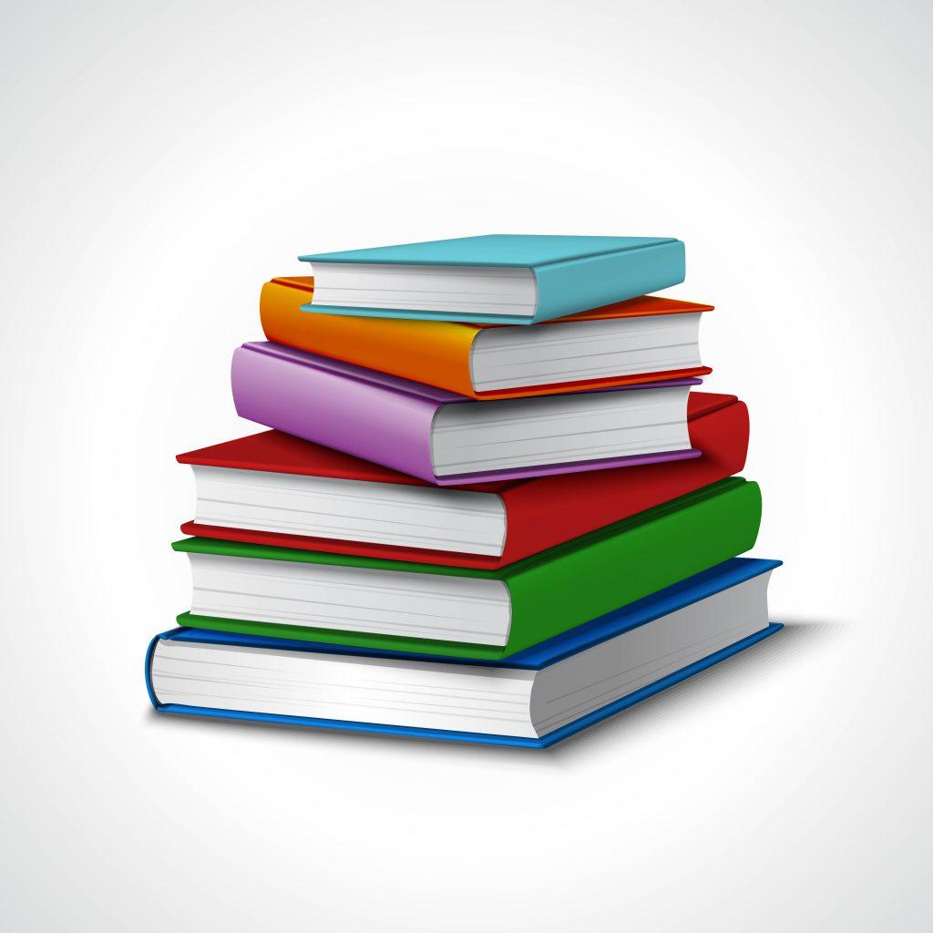 Seis livros empilhados.
