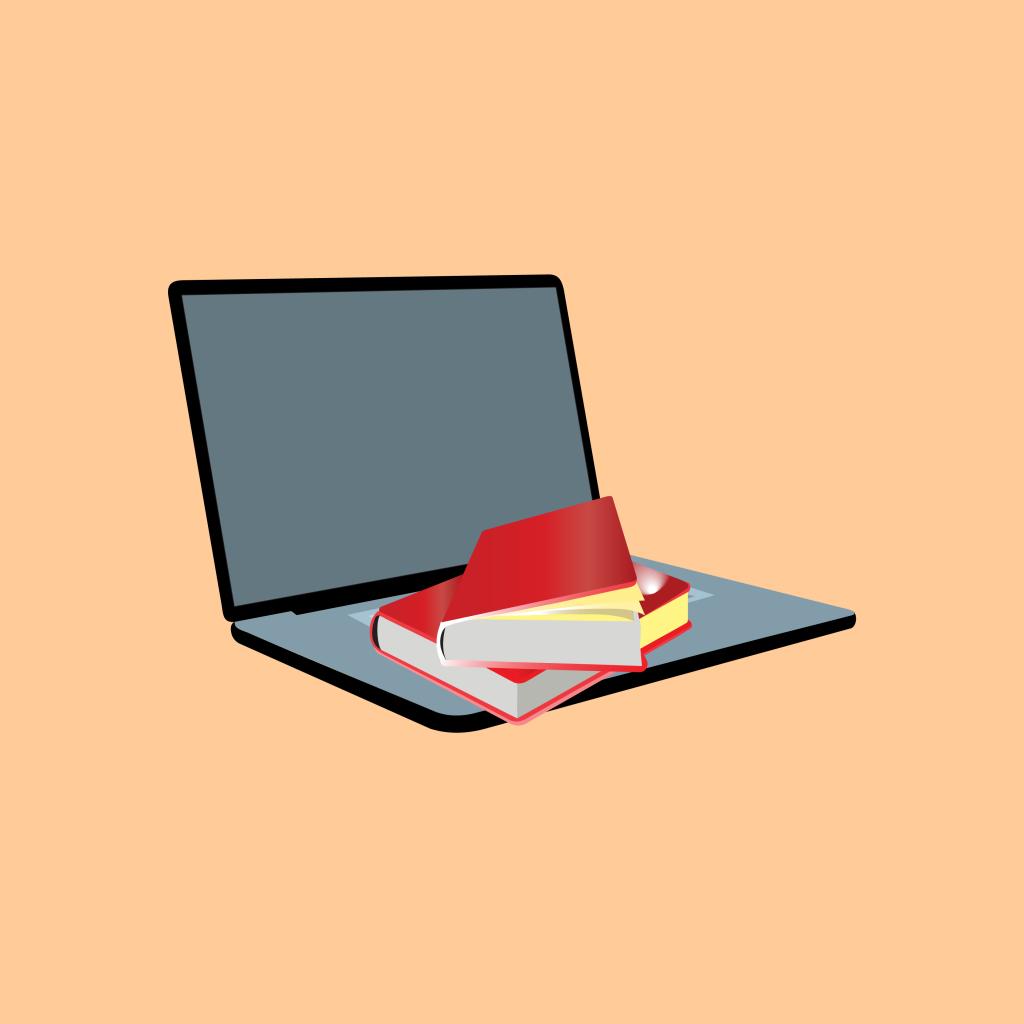 Representação do tema livro, e-book e videoaula. Há um laptop sobre uma mesa e livros sobre o teclado.