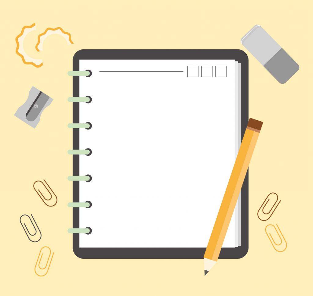 Um caderno, lápis, borracha e apontador para fazer anotações durante as aulas. O material está sobre uma superfície.