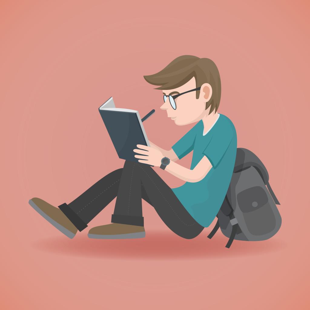 Garoto de calça jeans, camiseta e óculos sentado no chão encostado em sua mochila. Ele está segurando um lápis e lendo um livro que está apoiado sobre seus joelho.