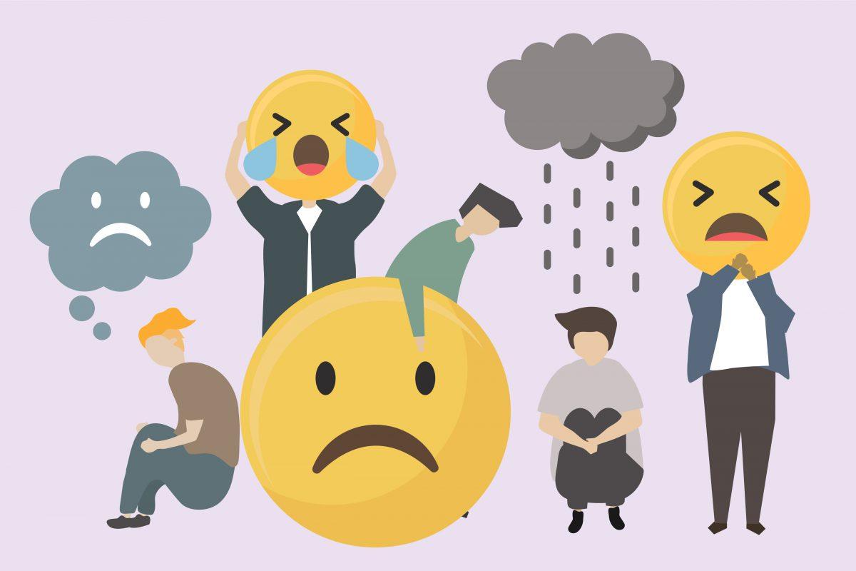 """Carinhas tristes e chorando gigantes. Há uma pessoa sentada no chão com segurando os joelhos e com uma nuvem de chuva sobre a cabeça representando a frase """"Não consigo cumprir o cronograma"""""""