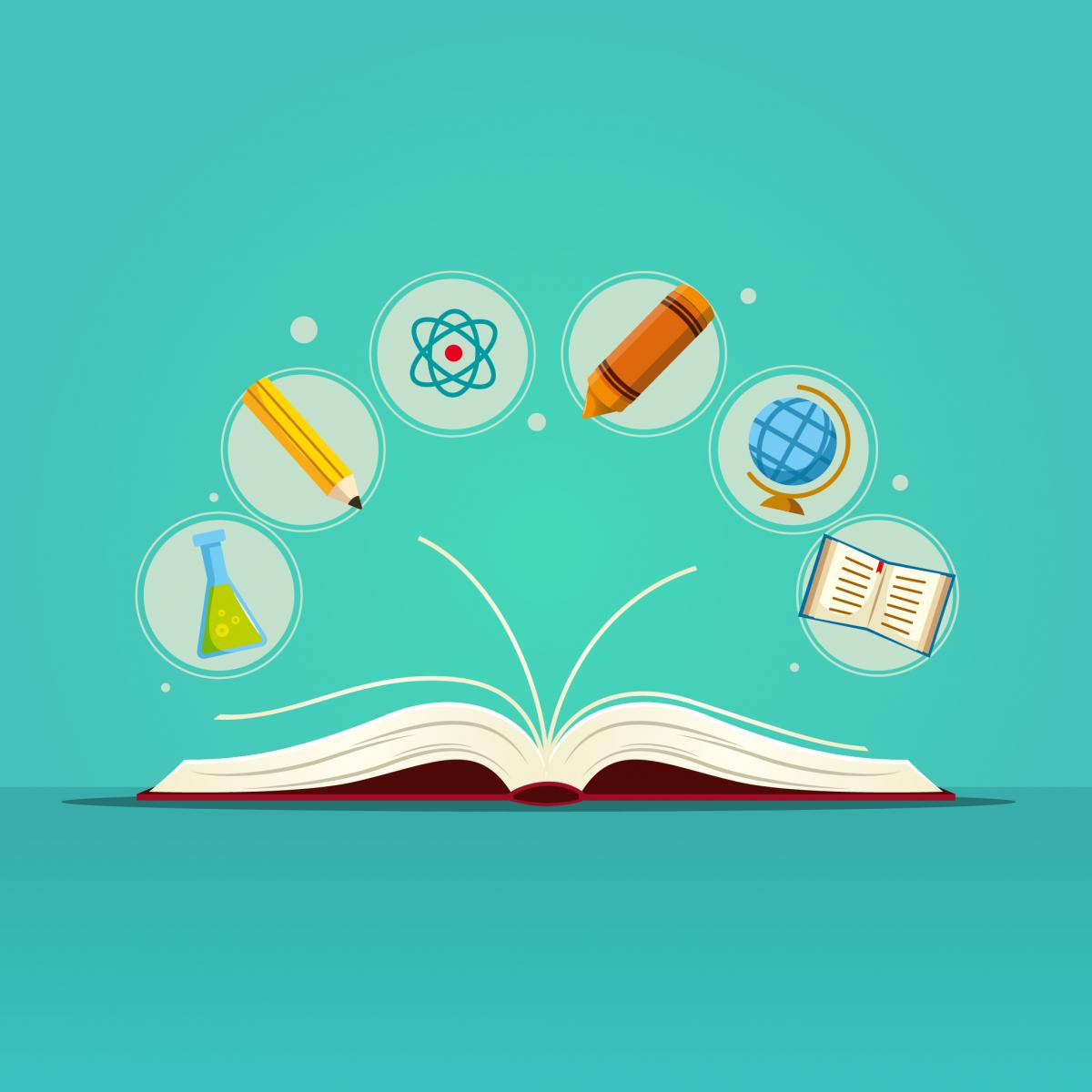 Livro aberto sobre uma mesa. Ao redor dele, há ícones representando disciplinas como química, português, geografia, português e artes.