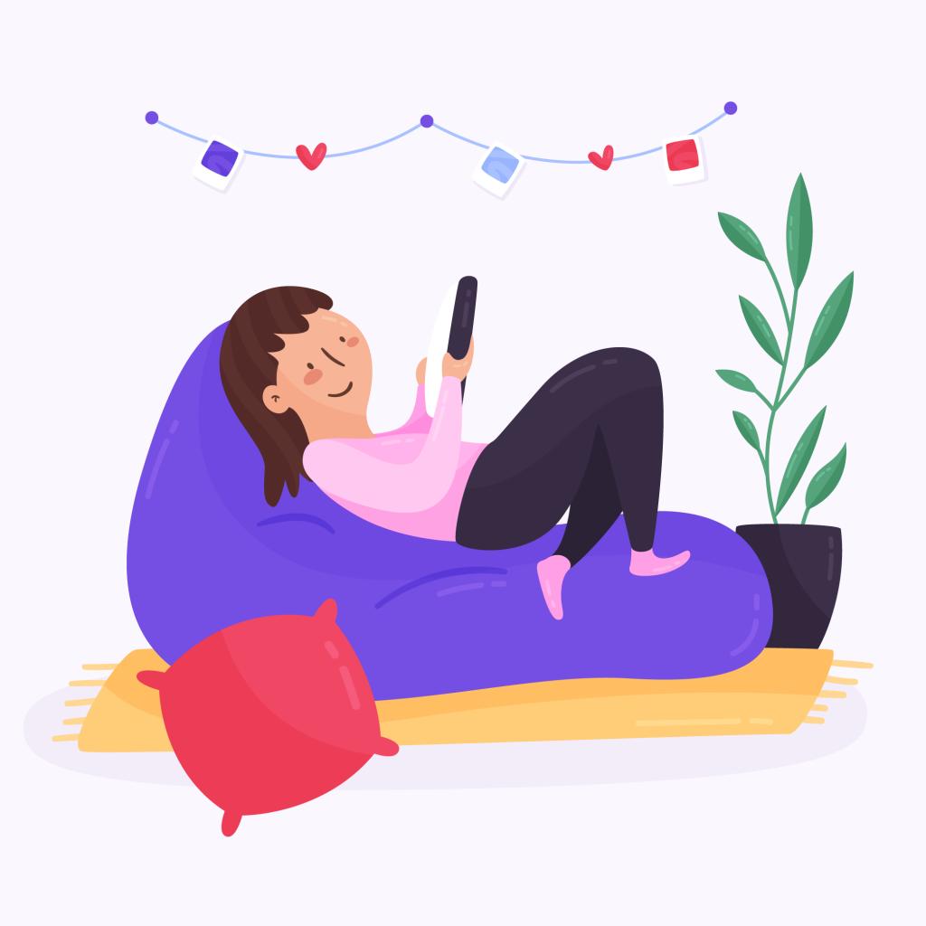 Garota deitada em colchão inflável mexendo em um tablet e sorrindo