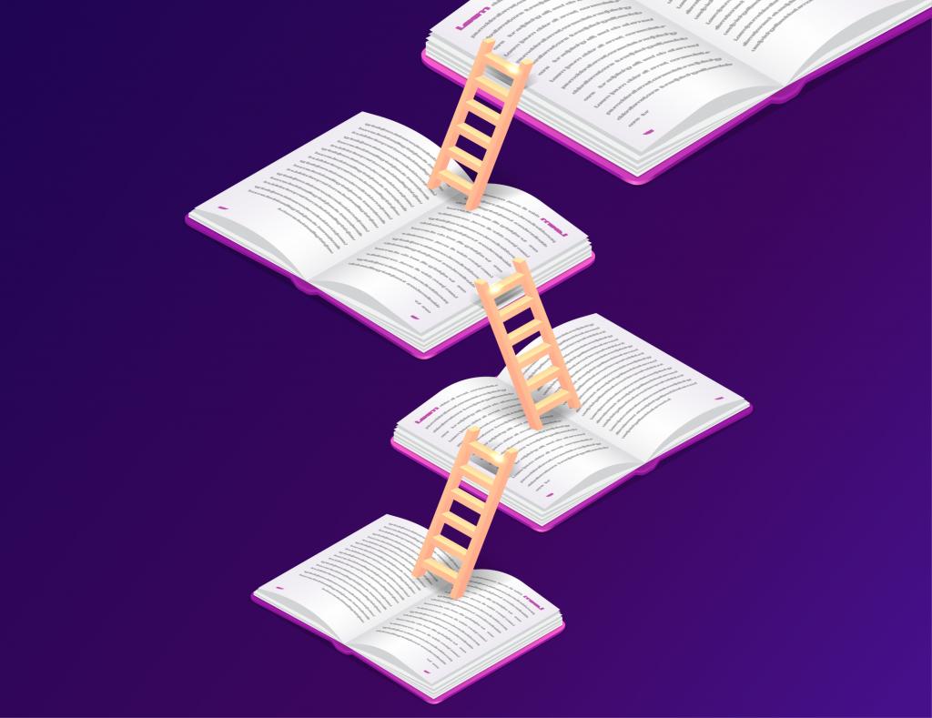 Vários livros uma acima dos outros com uma escada fazendo a ligação entre eles. A ilustração representa a importância de otimizar os estudos.