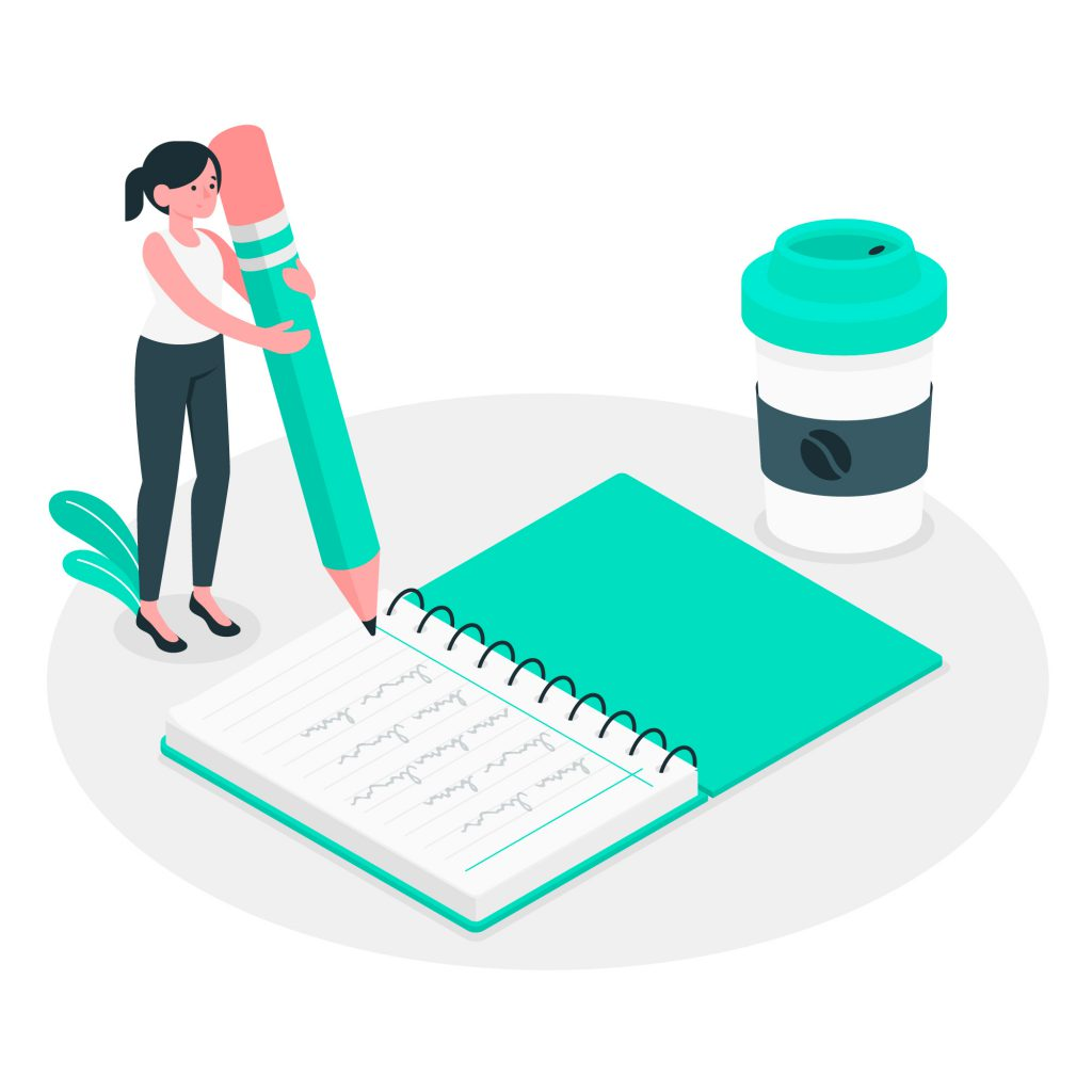 Garota segurando um lápis gigante. Ela está escrevendo em um caderno gigante. Ao lado dela há um copo de café gigante.